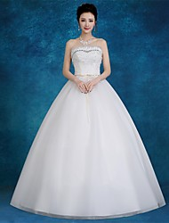 Ball Gown Wedding Dress Floor-length Strapless Lace / Satin / Tulle with Appliques