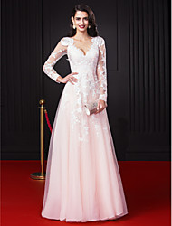 TS Couture Prom Formal Evening Dress - Celebrity Style A-line V-neck Floor-length Chiffon Tulle with Appliques Lace