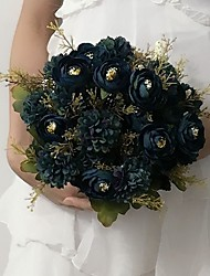 """Wedding Flowers Round Roses Bouquets Wedding / Party/ Evening Blue Satin 11.02""""(Approx.28cm)"""