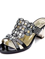 Zapatos de mujer-Tacón Robusto-Comfort-Sandalias-Boda / Vestido / Casual / Fiesta y Noche-Purpurina / Materiales Personalizados-Negro /