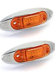 2x 3 lampe led lumineuse étanche 0.5W maker côté jaune pour remorque bateau de camion