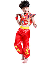 Boy's Spandex Summer Dragon Embroidery Chinese Style Latin Dance Uniforms