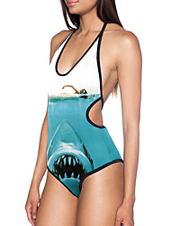 Women's Halter Backless One-pieces Swimwear, Print Wireless Polyester