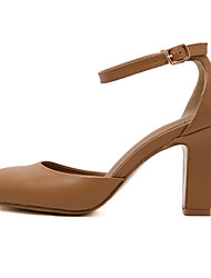 Women's Shoes Leatherette Chunky Heel Round Toe Heels Dress Black / Brown