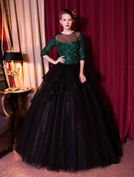 Formal Evening Dress-Dark Green Ball Gown Jewel Floor-length Lace / Tulle