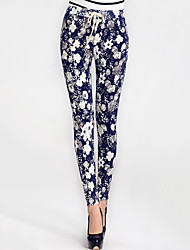 Women's Floral Blue / Black Harem Pants,Casual / Day / Simple Elastic Waist Fashion Slim Thin Polyester/Spandex