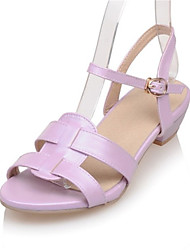 Women's Shoes Leatherette Chunky Heel Comfort Sandals Wedding / Party & Evening / Dress / Casual Pink / Purple