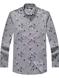 Sieben Brand® Herren Hemdkragen Lange Ärmel Shirt & Bluse Grau-703A361968