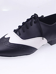Customizable Men's Dance Shoes Latin Leather Chunky Heel Black