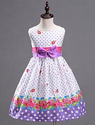 Girl's Purple Dots Print Dress,Print Cotton / Polyester Summer