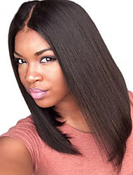 Summer Long bob wig Middle Part Lace Front Wig Human Hair Virgin Indian Lace Wig Natural Black Color For Black Women