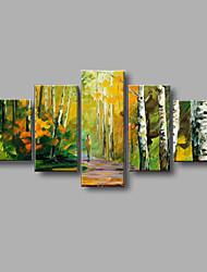 Peint à la main PaysageStyle européen Cinq Panneaux Toile Peinture à l'huile Hang-peint For Décoration d'intérieur