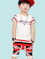 Boy's Cotton Summer Letter Pattern Scrawl Union Jack Style Pants Two-piece Suit