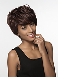 Elegance Natural Texture Short Wavy Hair Woman's Remy Human Hair Hand Tied -Top Wig
