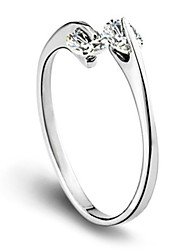 Sterling Silver Ring CZ Silver Plated Ring Adjustable Fashion Jewelry for Women Wedding Party Engagement Ring