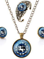 Lureme® Time Gem The Zodiac Series Vintage Sagittarius Pendant Necklace Stud Earrings Hollow Flower Bangle Jewelry Sets