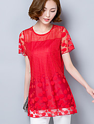 Women's Solid Red / Black Blouse,Round Neck Short Sleeve