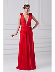 Formal Evening Dress Sheath / Column V-neck Floor-length Chiffon with Flower(s) / Side Draping