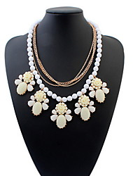 Low Price Elegant Resin Flower Crystal Pendant Bubble Choker Chunky Statement Bib Necklace