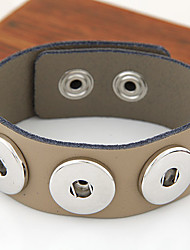 Women's European Style Fashion Trend Simple Metal Leather Buttons Bracelet