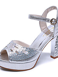 Women's Shoes PU Chunky Heel Heels Sandals / Heels Wedding / Party & Evening / Dress / Casual Silver / Gold