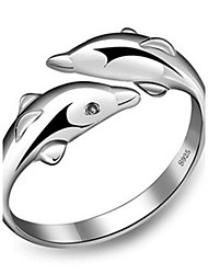 Sterling Silver Ring Dolphin Silver Plated Ring Adjustable Fashion Jewelry for Women Wedding Party Engagement Ring