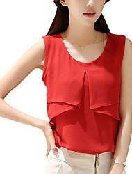 Summer Women's Fashion Round Neck Ruffle Sleeveless Chiffon Shirt Solid Color Slim Blouse Tops