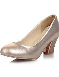 DamenKleid-Kunstleder-Blockabsatz-Rundeschuh-Rosa / Silber / Gold