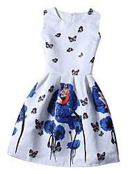 Girl's Cotton Summer Sleeveless Butterfly Print Dress