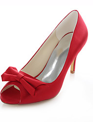 Women's Shoes Stretch Satin Stiletto Heel Heels / Peep Toe / Round Toe Sandals Wedding / Party & Evening / Dress Red
