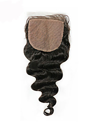 8 12 14 16 18 20inch Натуральный чёрный (#1В) Изготовлено вручную Свободные волны Человеческие волосы закрытие Умеренно-коричневый