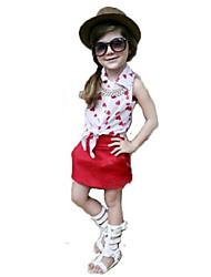 Girl's White Clothing Set,Cartoon Cotton Summer