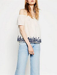 Women's Casual/Daily Street chic Summer Blouse,Print Boat Neck Short Sleeve White Polyester Medium