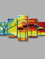 Hand-painted Abstract Landscape Wall Art Home Decor Oil Painting on Canvas 5pcs/set With Stretched Frame