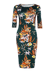 De las mujeres Vaina Vestido Simple Floral Midi Escote Redondo Poliéster