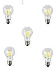 5pcs a60 7w 760-800lm e27 800lm Ampoule à incandescence à LED chromée / incroyable à 360 degrés à chaud (ac220-240v)