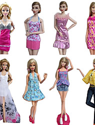 Princess Costumes For Barbie Doll Purple / White Print Dresses / Skirts / Pants / Tops