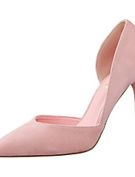 Women's Shoes Suede Stiletto Heel Heels / Pointed Toe / Closed Toe Heels Dress Black / Pink / Red / Gray / Khaki