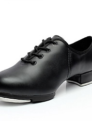 Non Customizable Men's Dance Shoes Tap Leatherette Low Heel Black