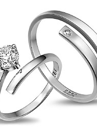 2pcs Sterling Silver Ring Sample CZ Couple Rings Adjustable Fashion Jewelry for Couple Wedding Engagement Ring