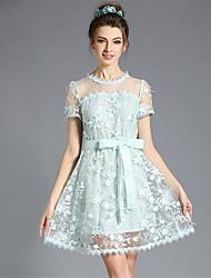 aofuli mujeres más el tamaño de vestido de encaje bordado una línea de ver a través de la manga corta hueca