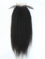 fechamento Kinky em linha reta laço do cabelo humano 3,5 * 4 com o cabelo do bebê