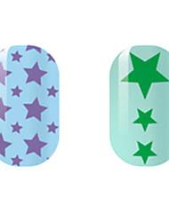 фиолетовый / зеленый звезда полые наклейки для ногтей