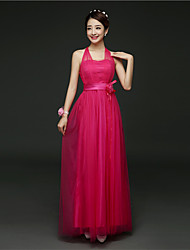 Ankle-length Satin / Tulle Bridesmaid Dress - A-line Halter with Flower(s) / Sash / Ribbon