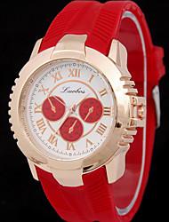 Damen Modeuhr Quartz Armbanduhren für den Alltag Caucho Band Schwarz / Weiß / Blau / Rot / Gold / Rosa / Mehrfarbig / Rose Marke-