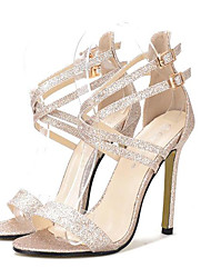 Women's Shoes Synthetic Stiletto Heel Open Toe Sandals Party & Evening / Dress Silver / Gold