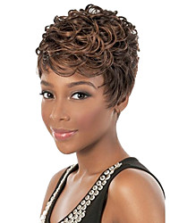Capless Short Curly Synthetic Hair Wig Brown with Free Hair Net