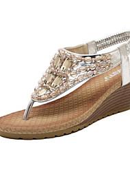 DamenLässig / Kleid-Kunstleder-Keilabsatz-Komfort / Vorne offener Schuh-Silber / Gold
