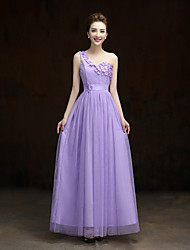 Ankle-length Lace / Satin / Tulle Bridesmaid Dress-Lilac / Lavender / Pearl Pink / Champagne A-line One Shoulder