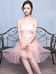 Short / Mini Tulle Bridesmaid Dress - A-line Sweetheart with Lace